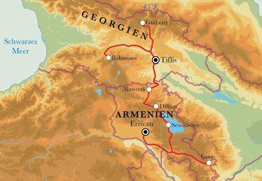 Route Rundreise Armenien & Georgien, 15 Tage