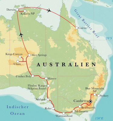 Route Rundreise Australien, 28 Tage