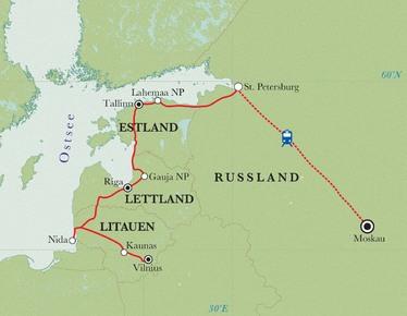 Route Rundreise Baltikum & Russland, 18 Tage