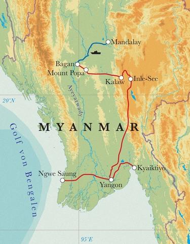Route Rundreise Myanmar, 17 Tage
