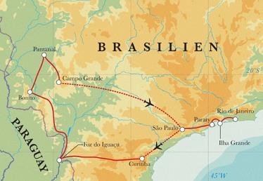 Route Rundreise Brasilien mit Pantanal und Iguazú-Fällen, 21 Tage