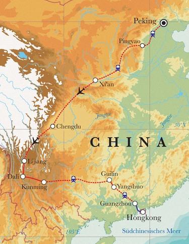 Route Rundreise China, 24 Tage