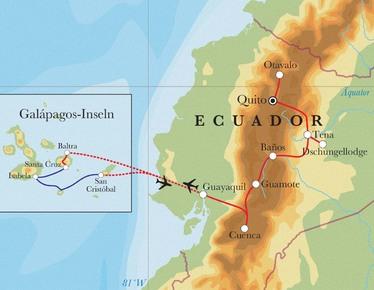Route Rundreise Ecuador & Galápagos, 21 Tage