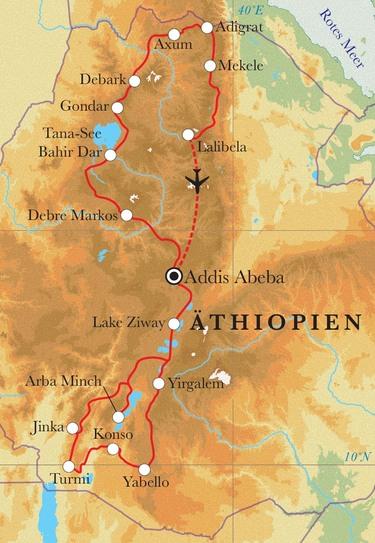 Route Rundreise Äthiopien, 15 Tage