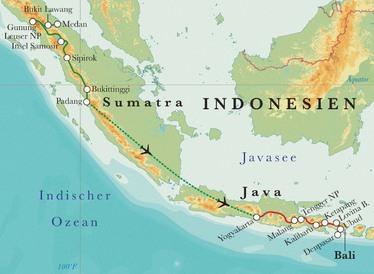 Route Rundreise Indonesien: Java & Bali, 15 Tage