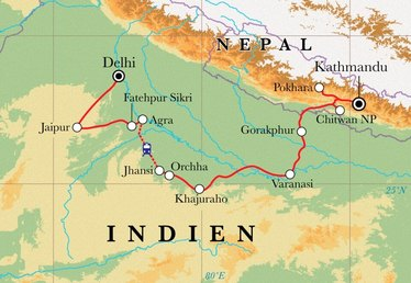 Route Rundreise Nordindien & Nepal, 23 Tage