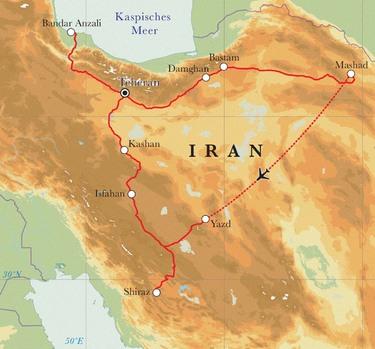 Route Rundreise Iran, 22 Tage