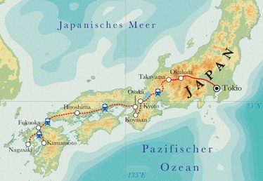 Route Rundreise Japan, 21 Tage