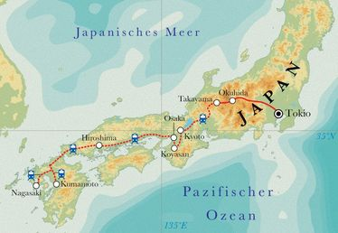 Route Rundreise Japan, 21/22 Tage