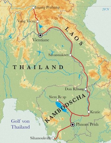 Route Rundreise Laos & Kambodscha, 19/23 Tage