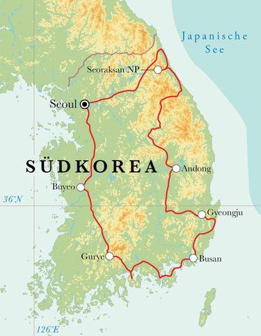Route Rundreise Südkorea, 15 Tage