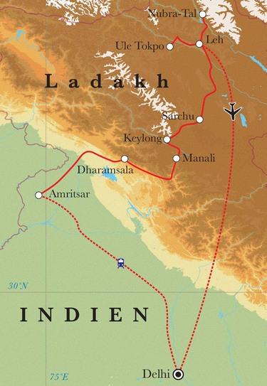 Route Rundreise Ladakh, 21 Tage