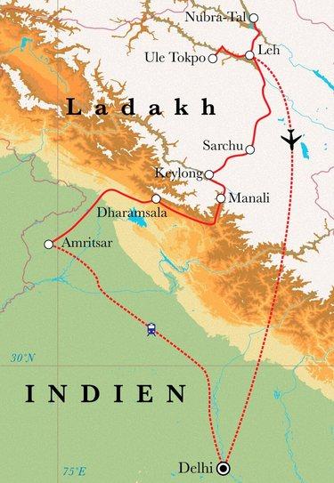 Route Rundreise Ladakh, 22 Tage