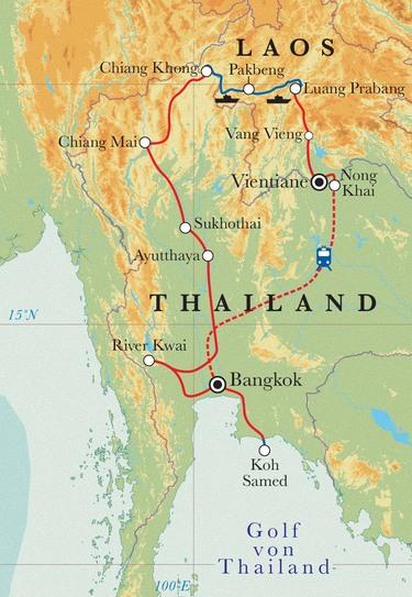 Route Rundreise Thailand & Laos, 25 Tage