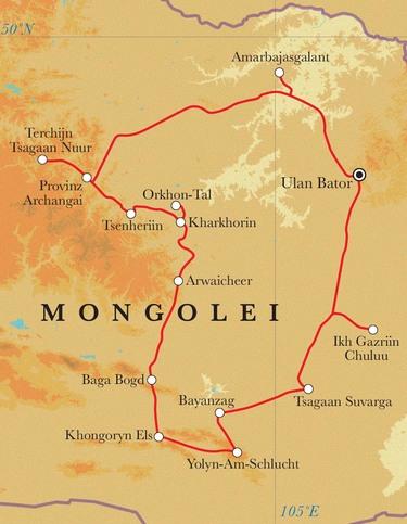 Route Rundreise Mongolei, 18 Tage
