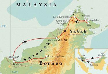 Route Rundreise Malaysia: Borneo, 19 Tage