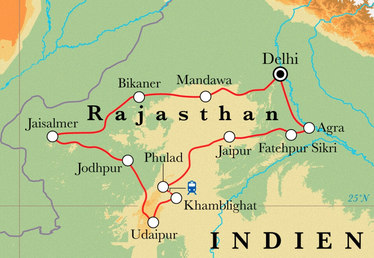 Route Rundreise Rajasthan, 17 Tage