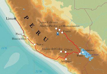 Route Rundreise Peru, 21 Tage