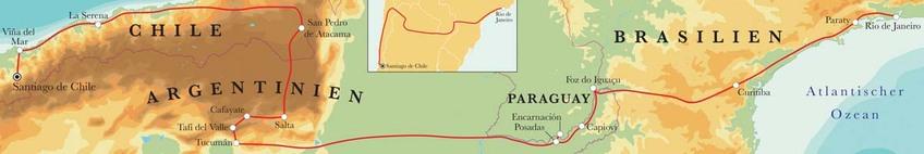 Route Rundreise Von Santiago de Chile nach Rio de Janeiro, 28 Tage