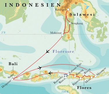 Route Rundreise Indonesien: Sulawesi, Flores, Komodo & Bali, 22 Tage