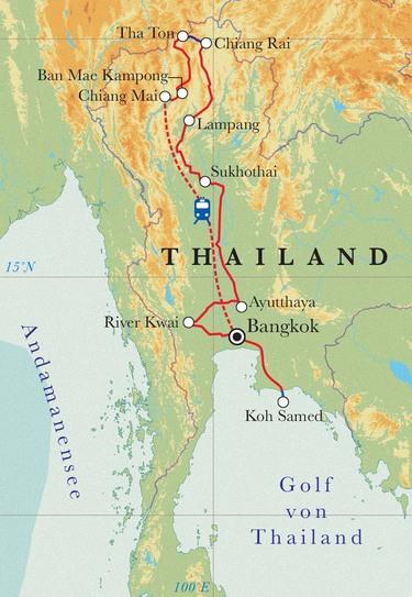 Route Rundreise Thailand, 16 Tage