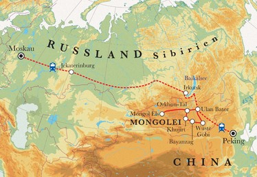 Route Rundreise Transsibirische Eisenbahn, 24 Tage