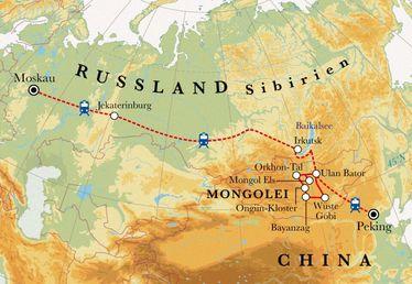 Route Rundreise Transsibirische Eisenbahn, 23 Tage