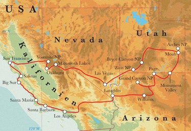 Route Rundreise USA - der Westen, 21 Tage
