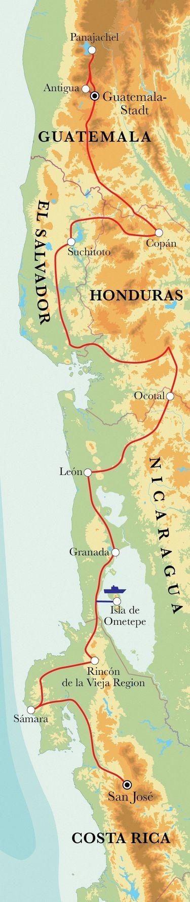 Route Rundreise Von San José nach Guatemala-Stadt, 22 Tage