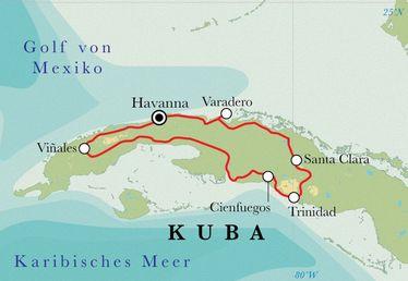 Route Rundreise Kuba, 14 Tage