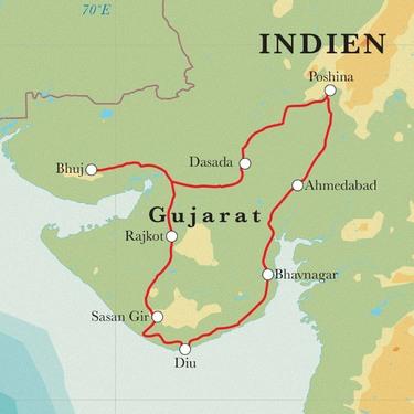 Route Rundreise Indien - Gujarat, 17/18 Tage