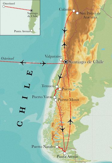 Route Rundreise Chile mit Osterinsel, 23 Tage