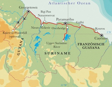 Route Rundreise Die drei Guayanas, 18 Tage