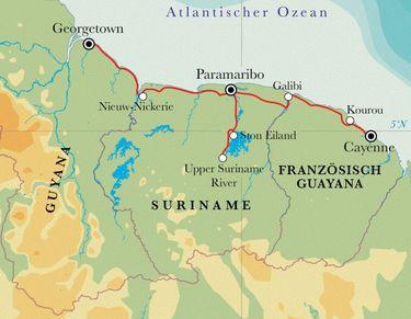 Route Rundreise Die drei Guayanas, 21 Tage