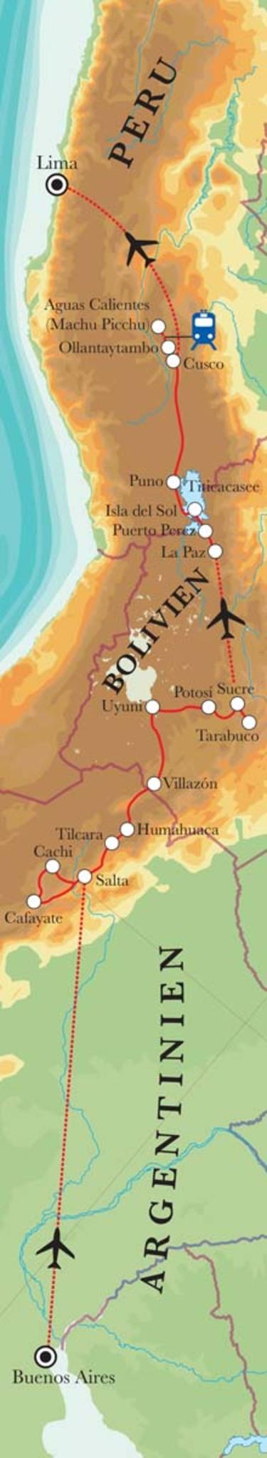 Route Rundreise Von Buenos Aires nach Lima, 27 Tage