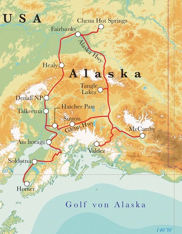 Route Rundreise Alaska, 21 Tage
