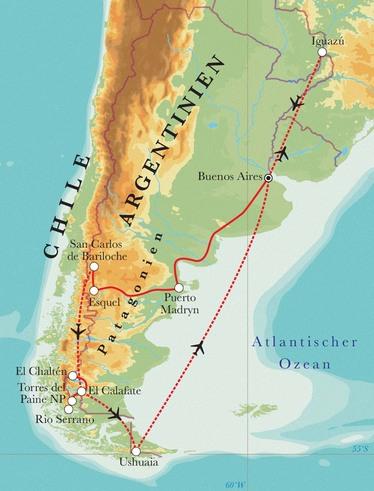 Route Rundreise Argentinien & Chile mit Iguazú, 25 Tage