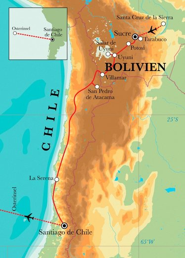 Route Rundreise Bolivien, Chile & Osterinsel, 23 Tage