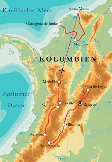 Route Rundreise Kolumbien, 21 Tage