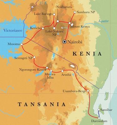 Route Rundreise Kenia, Tansania & Sansibar Zeltsafari, 21 Tage