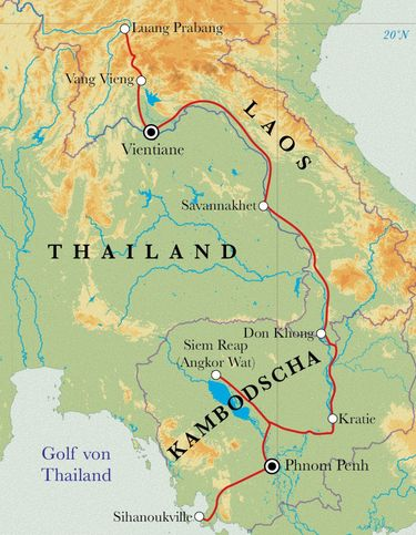 Route Rundreise Laos & Kambodscha, 22 Tage