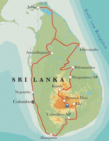 Route Rundreise Sri Lanka, 21 Tage