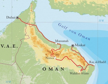 Route Rundreise Oman & Dubai, 12 Tage