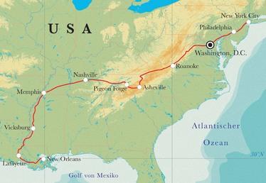 Route Rundreise Von New Orleans nach New York, 18 Tage