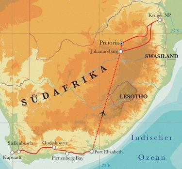 Route Rundreise Südafrika, 15 Tage