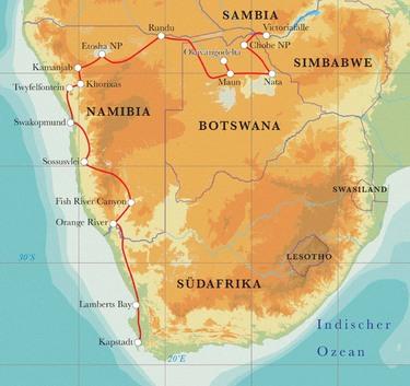 Route Rundreise Südafrika, Namibia, Botswana & Simbabwe, 24 Tage Hotel- & Lodgesafari