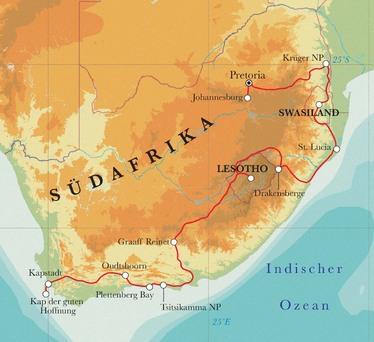 Route Rundreise Südafrika, Lesotho & Swasiland, 22 Tage