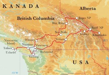 Route Rundreise Kanada, 22 Tage