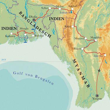 Route Rundreise Von Kalkutta nach Yangon, 22 Tage