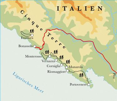 Route Cinque Terre, 8 Tage Wanderreise